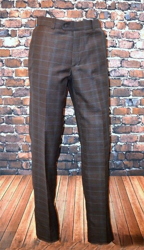 "THE ""D"" HILL BROWN & DUCK EGG BLUE SMART CHECK TROUSER"